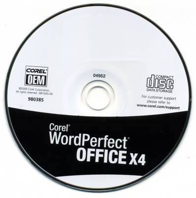 Corel Word Perfect Office X4 OEM In White Sleeve