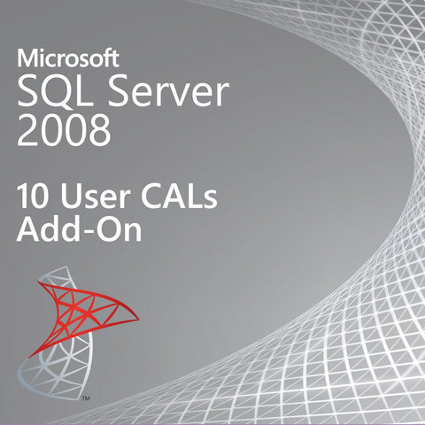 Microsoft SQL Server 2008  10 User CALs Add On
