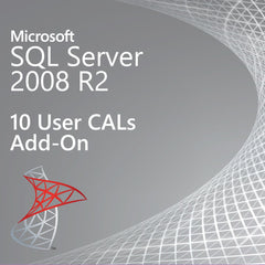 Microsoft SQL Server 2008 R2  10 User CALs Add On