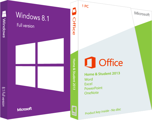 Combo office 2013 home & student + windows 8. 1 + usb software.