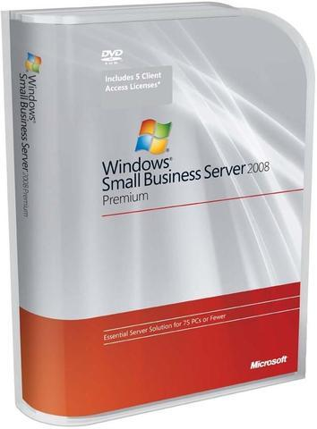 Microsoft Windows Small Business Server 2008 Premium Edition w/SP2 - 5 CALs, 1 server (1-4 CPU)