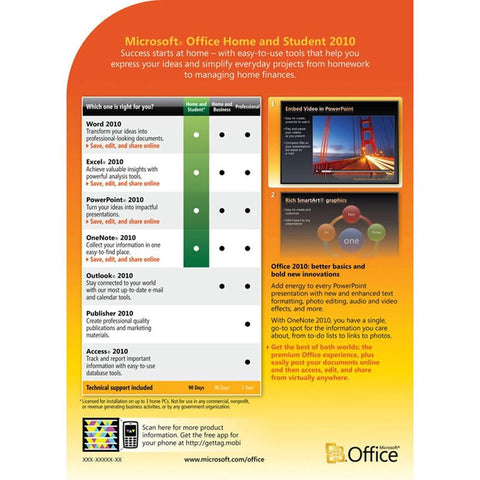 Microsoft office 2010 home and student family pack license