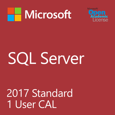 Microsoft SQL Server 2017 Standard - 1 User Client Access License Academic