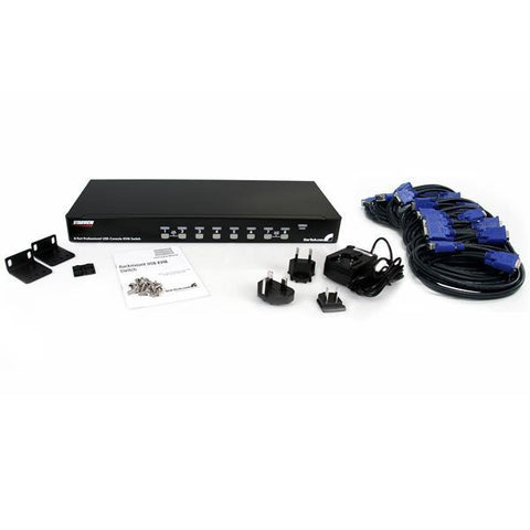 StarTech 8 Port 1U Rack Mount USB KVM Switch Kit with OSD and Cables - MyChoiceSoftware.com