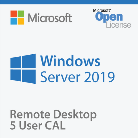 Microsoft Windows Server 2019 5 RDS UCALs Open License OLP.