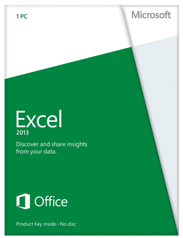 Microsoft Excel 2013 Medialess Retail Box.