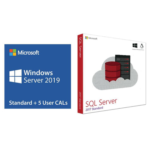 Microsoft Windows Server 2019 Standard w/ 5 User CALs + SQL Server 2017 Standard | Microsoft