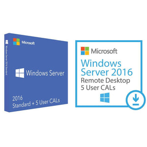 Microsoft Windows Server Standard 2016 and 5 UCALs and 5 RDS Deal