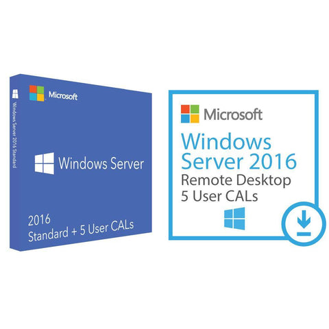 Microsoft Windows Server Standard 2016 and 5 UCALs and 5 RDS.