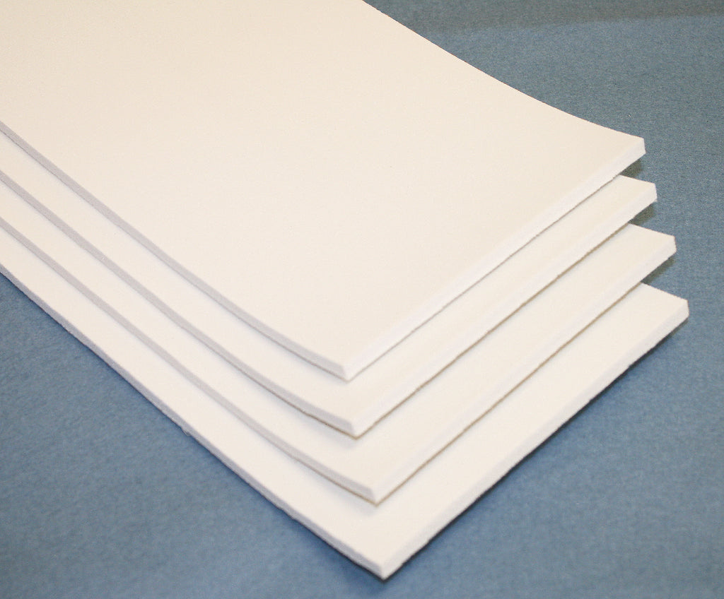 "6"" x 12"" x 1/4"" Thick White Foam Sheet Pack- 4 Sheets (900665)"