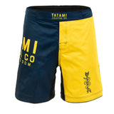 Tatami Fightwear No-Gi BJJ Jiu Jitsu Supply Co Blue/Yellow MMA Fight Shorts