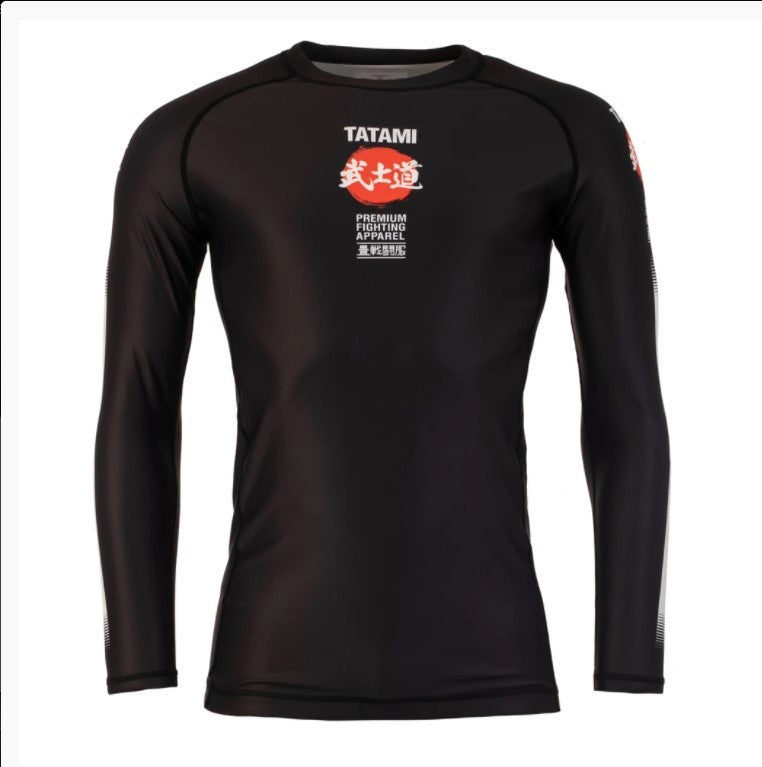 Tatami Fightwear Bushido Black Long Sleeve Rash Guard Rashguard