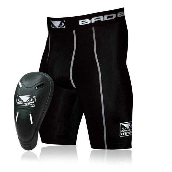 Bad Boy Defender 2.0 Compression Shorts & Athletic Cup Combo Black