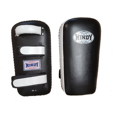 Windy Leather Thai Kick Pads KP-4 Velcro Black/White