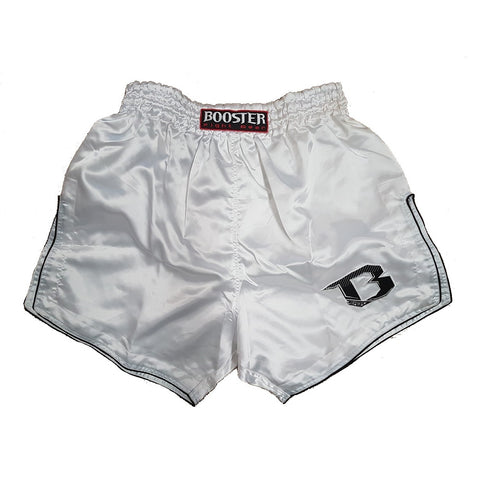 Booster Fight Gear TBS Retro White Muay Thai Kickboxing Shorts