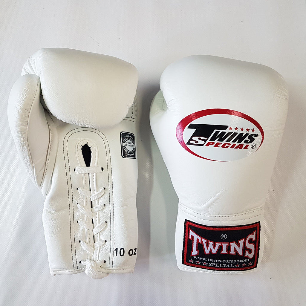 Twins Special gloves edmonton BGLL-1 Muay Thai Lace-Up Boxing Gloves White