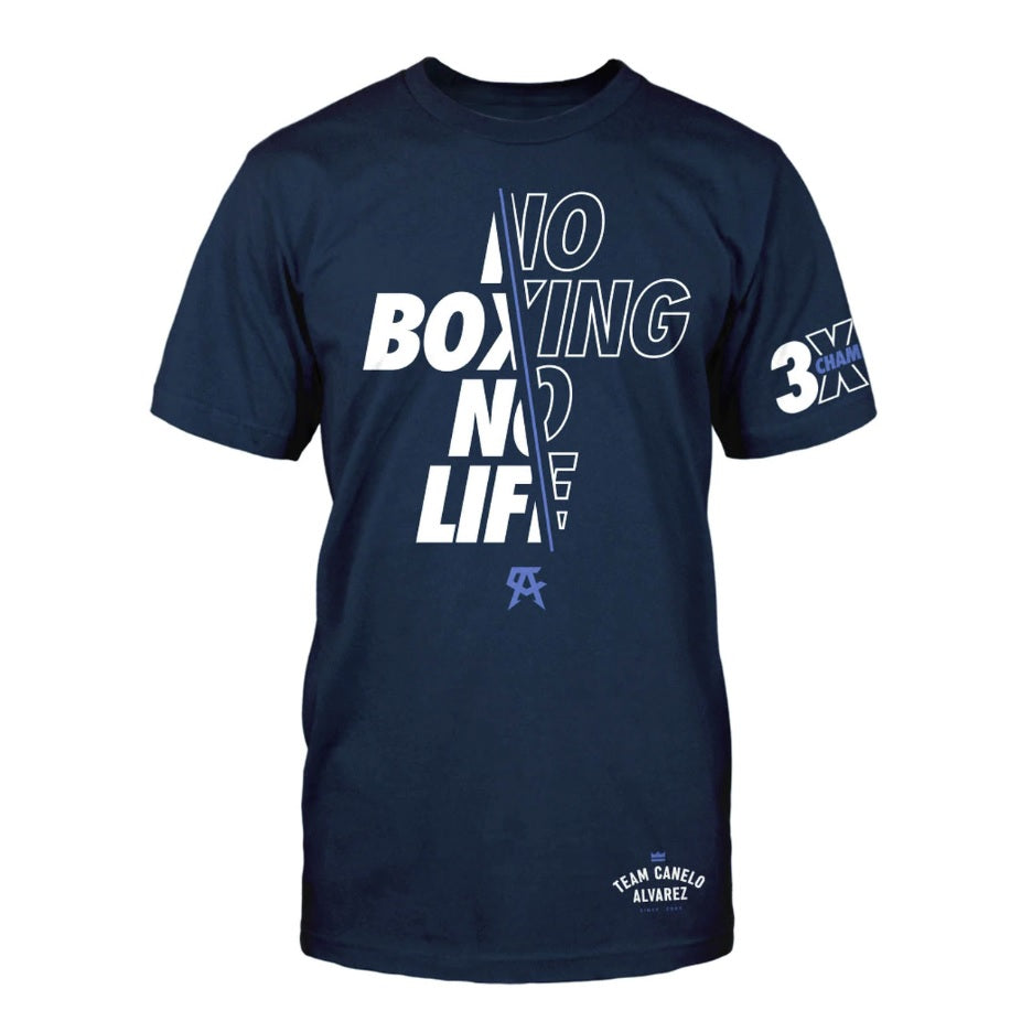 Official Canelo Alvarez Crossed No Boxing No Life T-Shirt Navy