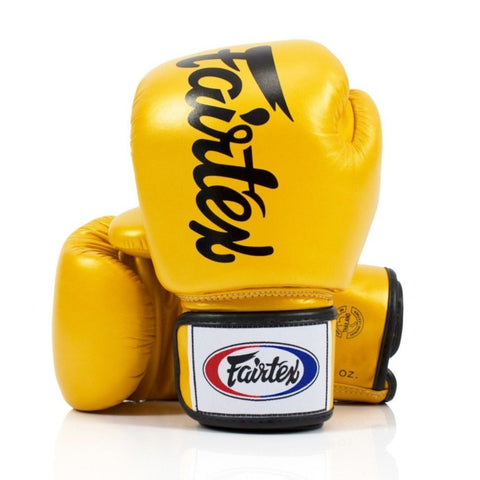 Fairtex BGV19 Deluxe Tight Fit Gold/Black Muay Thai Boxing Gloves
