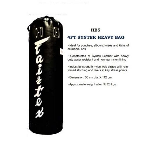 Fairtex HB5 4 ft Boxing Heavy Bag (Unfilled) Black