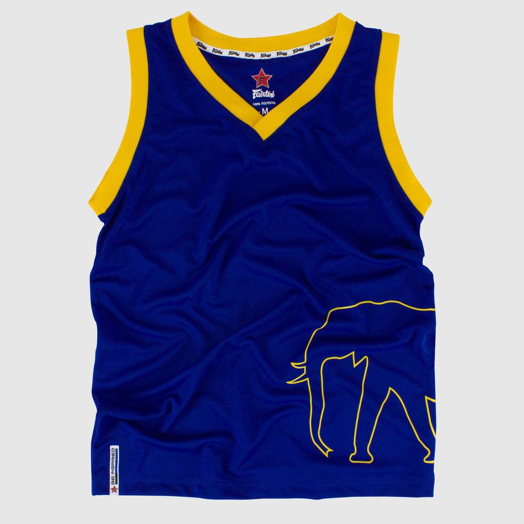 35499acf993 Fairtex JS14 Sleeveless Tank Top Basketball Jersey Shirt Blue/Yellow ...