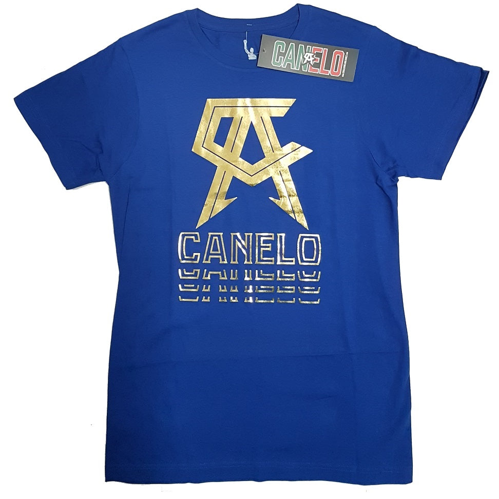 91c8d9e2 Official Canelo Alvarez Gold Foil Boxing T-Shirt Blue Canada Edmonton – The  Clinch Fight Shop