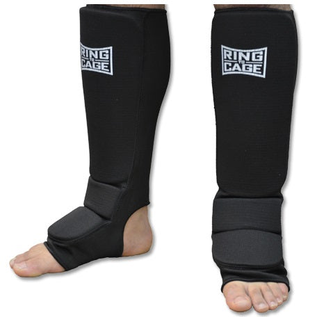 Ring to Cage Kids & Adult Cotton Cloth Shin Guards Black