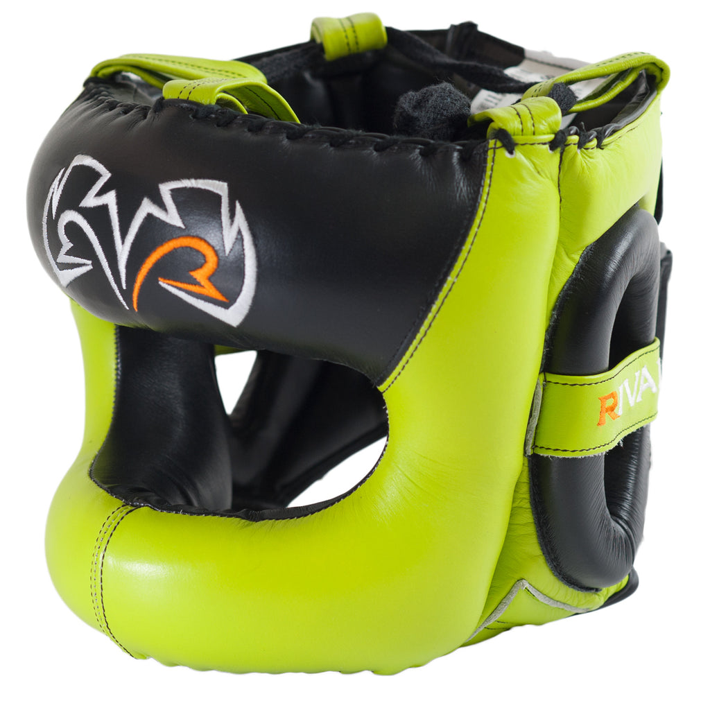 Rival Boxing Guerrero Facesaver Headgear Head Gear Guard Lime Green