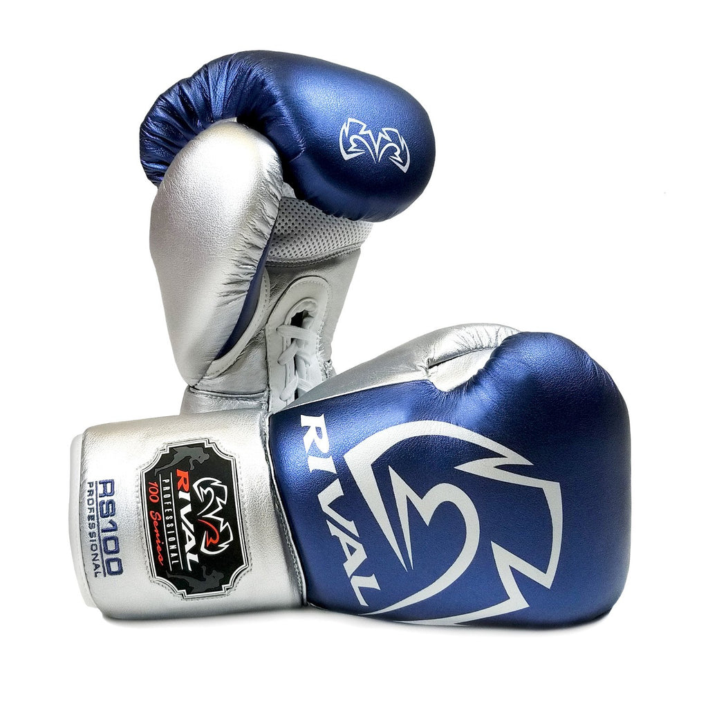 Rival Boxing RS100 Professional Sparring Lace-Up Gloves Blue/Silver