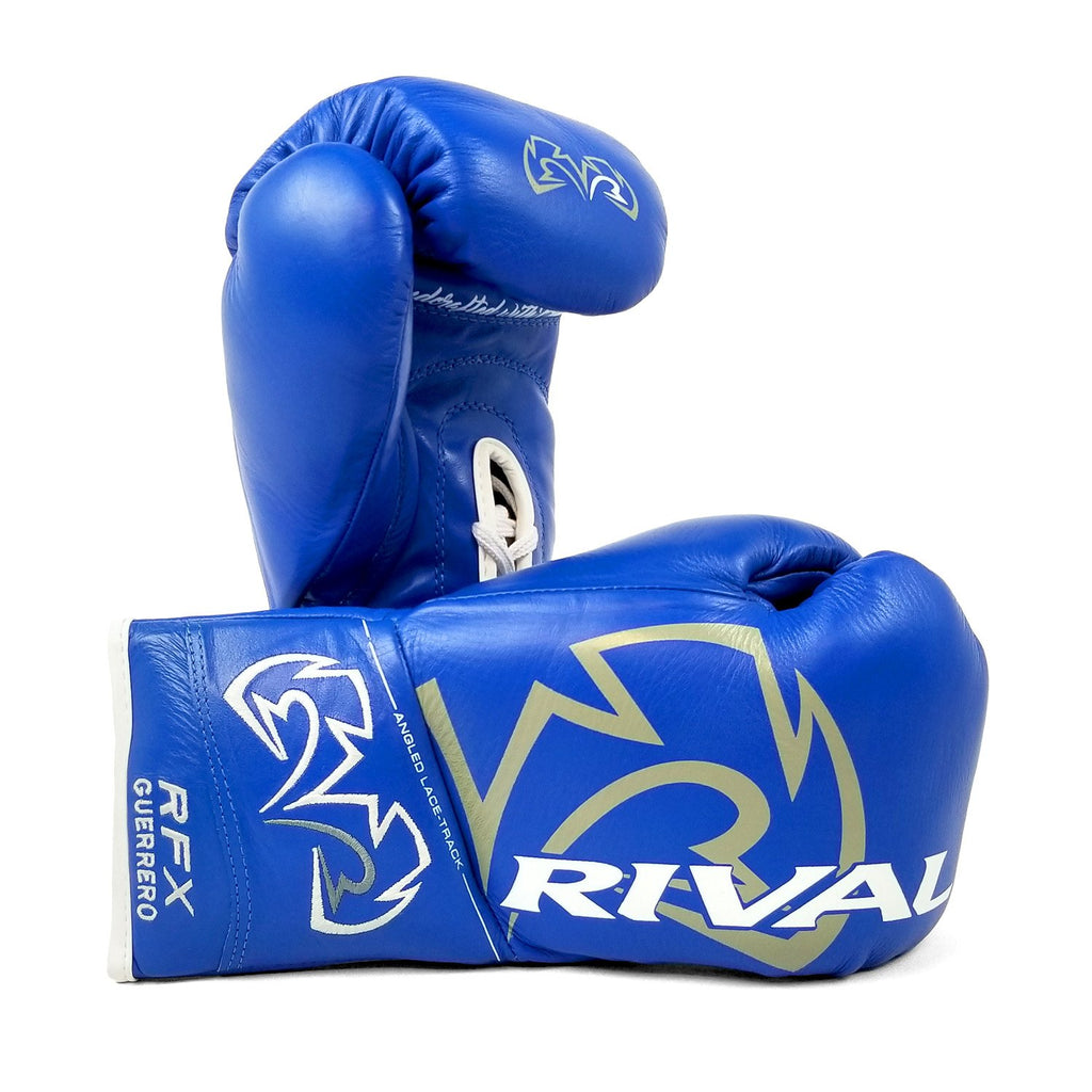 Rival Boxing RFX Guerrero Pro Fight Lace-Up Gloves Blue