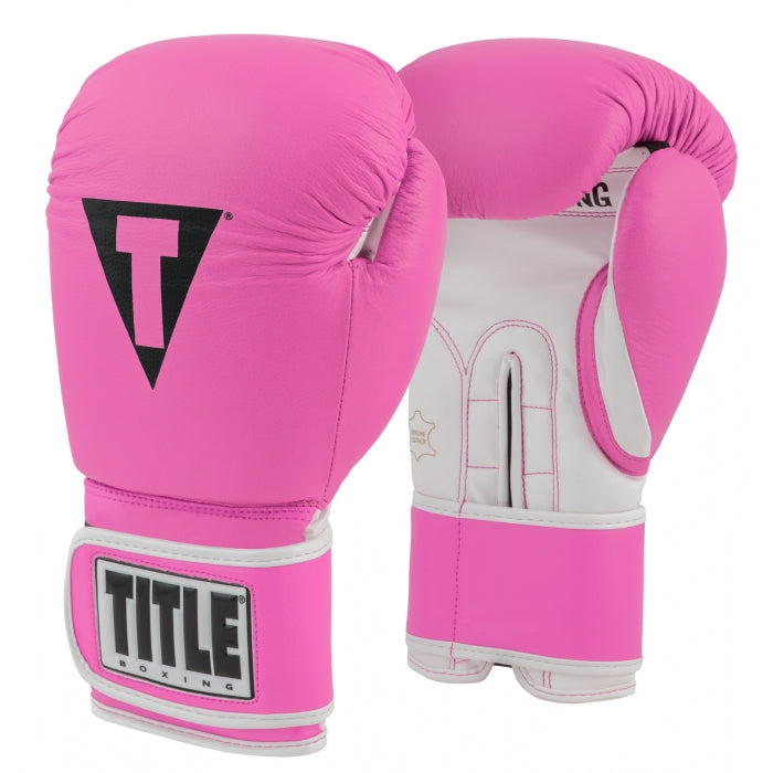 Title Boxing 3.0 Pro Style Leather Boxing Gloves Hot Pink