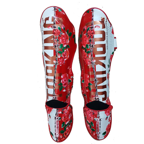 Top King Boxing Shin Guards Canada Massacre Roses White