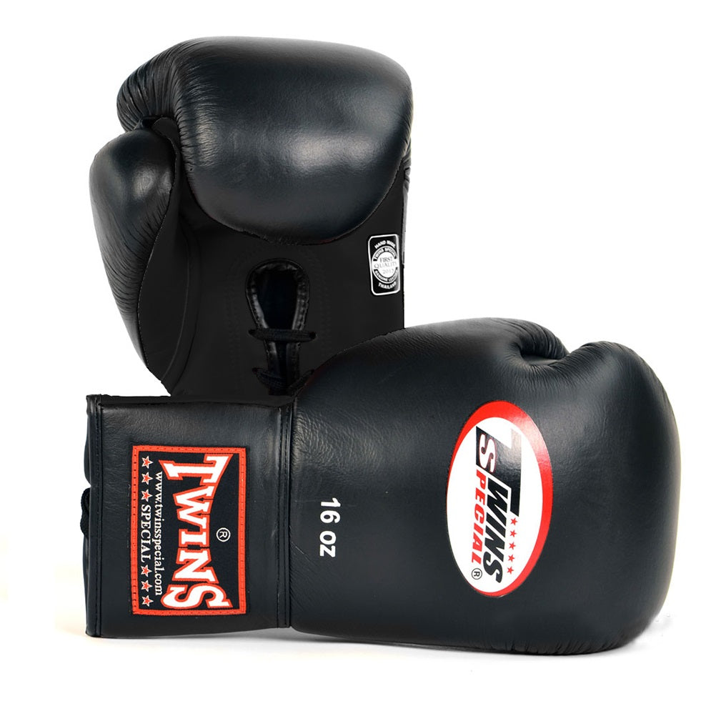 Twins Special Canada BGLL-1 Muay Thai Lace-Up Boxing Gloves Black