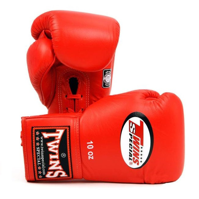Twins Special BGLL-1 Muay Thai Lace-Up Boxing Gloves Red