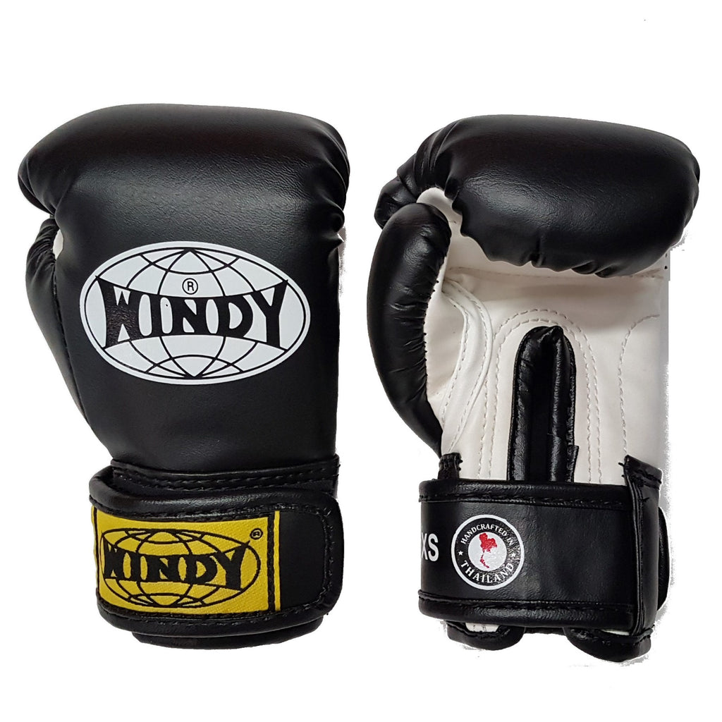 Windy Muay Thai Kids Youth Boxing Gloves Black
