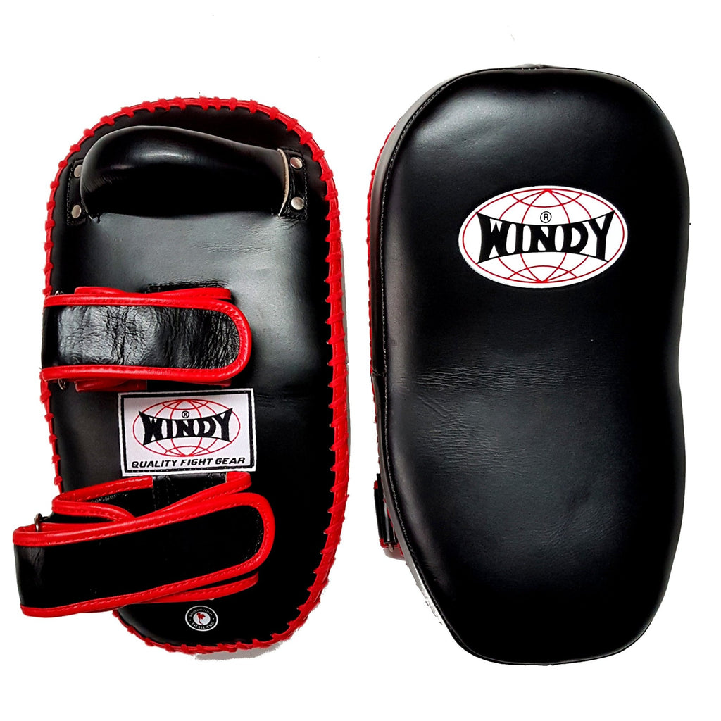 Windy Curved Leather Thai Kick Pads KP-8 Velcro Black/Red