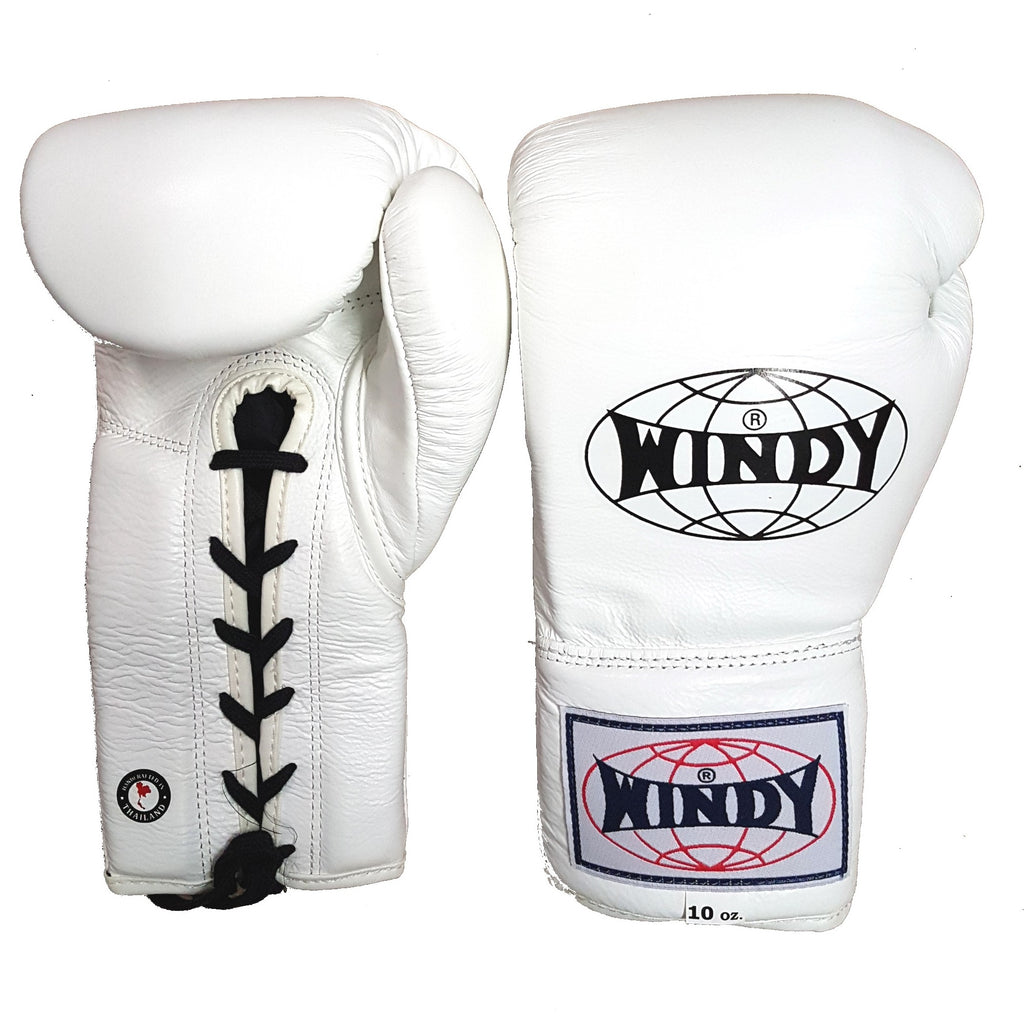 Windy BGL Lace-Up Muay Thai Boxing Gloves White