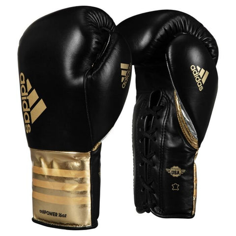 Adidas Adi-Power Hybrid 500 Pro Lace Up Boxing Gloves Black/Gold