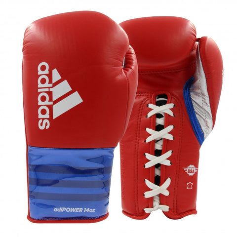 Adidas Adi-Power Hybrid 500 Pro Lace Up Boxing Gloves Red/Blue