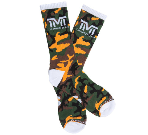 TMT The Money Team Untouchable Boxing Socks Camo Orange