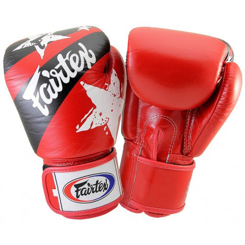 Fairtex BGV1 Nation Print Stars Gloves Red