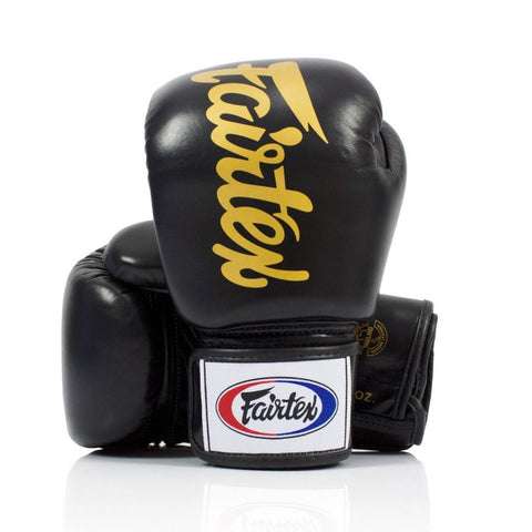 Fairtex BGV19 Deluxe Tight Fit Black/Gold Muay Thai Boxing Gloves