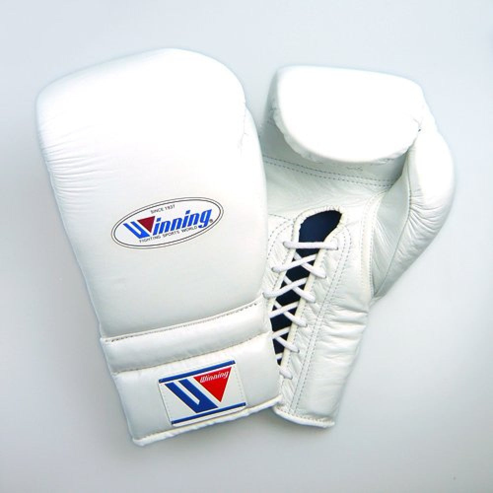 Winning Boxing Pro Lace-up Gloves 12oz White MS-400
