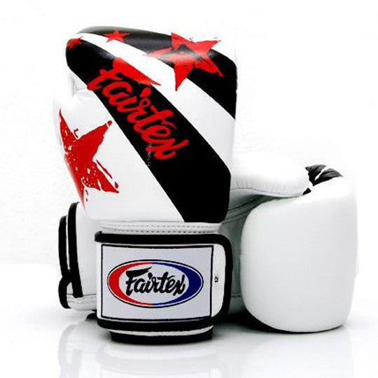 Fairtex BGV1 Nation Print Stars Gloves White