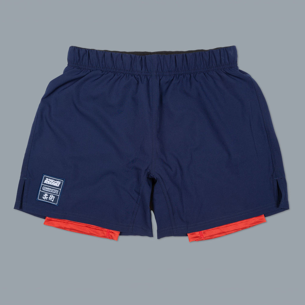 Scramble Brand canada Combination Jiu Jitsu BJJ MMA Fight Shorts Shorts - Navy/Red