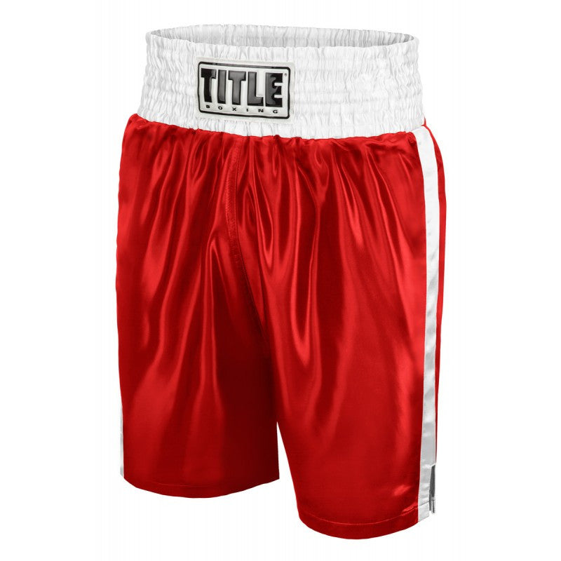 Title Boxing Classic Edge Satin Boxing Shorts Trunks Red