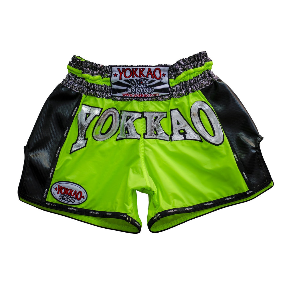 Yokkao Neon Green Carbon Muay Thai Shorts