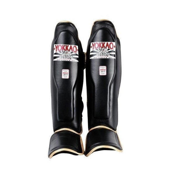 Yokkao Black Leather Muay Thai Shin Guards