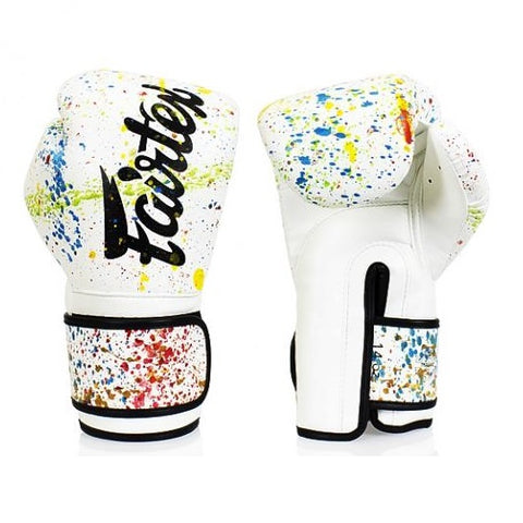 Fairtex BGV14PT White Painters Muay Thai Boxing Gloves
