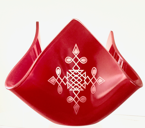 Cross,Red, glass candle holder