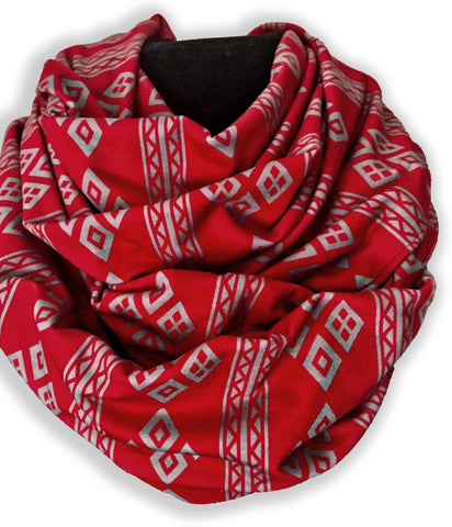 Grey on Red scarf
